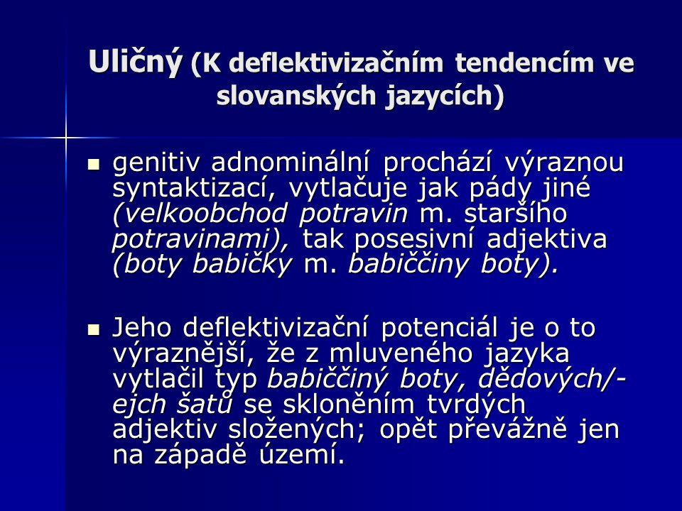 Uličný (K deflektivizačním tendencím ve slovanských jazycích) genitiv adnominální prochází výraznou syntaktizací, vytlačuje jak pády jiné (velkoobchod