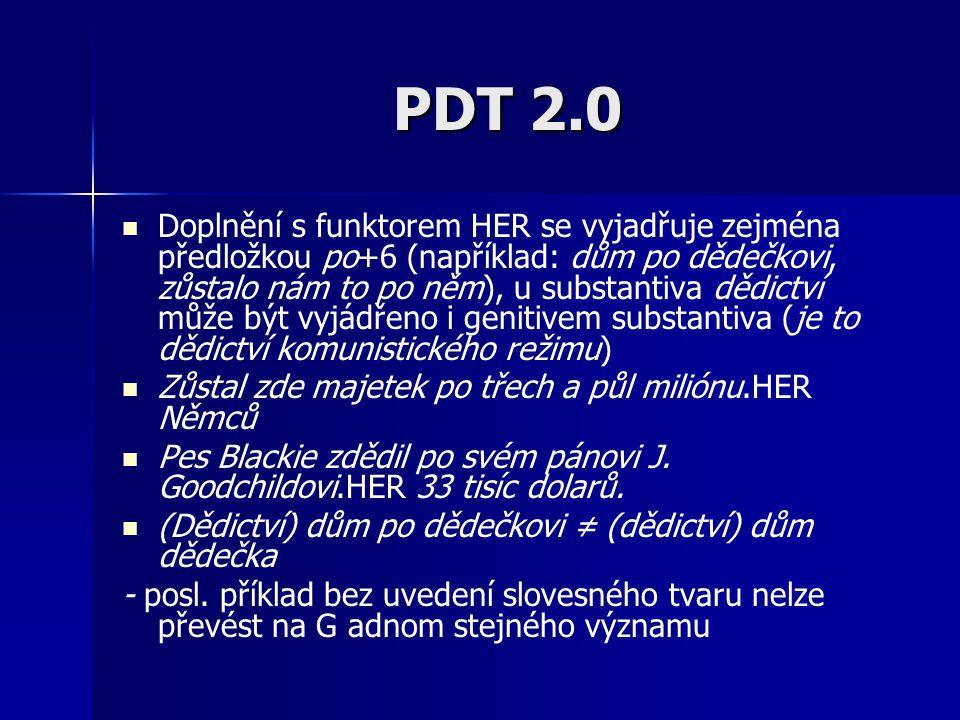 PDT 2.0 Doplnění s funktorem HER se vyjadřuje zejména předložkou po+6 (například: dům po dědečkovi, zůstalo nám to po něm), u substantiva dědictví můž