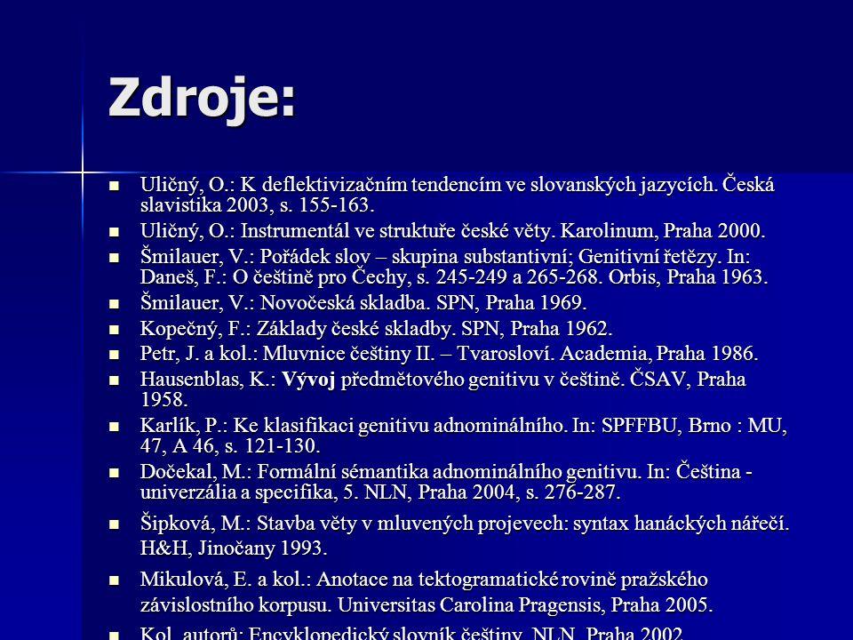 Zdroje: Uličný, O.: K deflektivizačním tendencím ve slovanských jazycích. Česká slavistika 2003, s. 155-163. Uličný, O.: K deflektivizačním tendencím