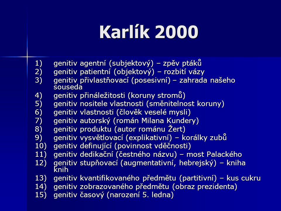 Karlík 2000 1)genitiv agentní (subjektový) – zpěv ptáků 2)genitiv patientní (objektový) – rozbití vázy 3)genitiv přivlastňovací (posesivní) – zahrada