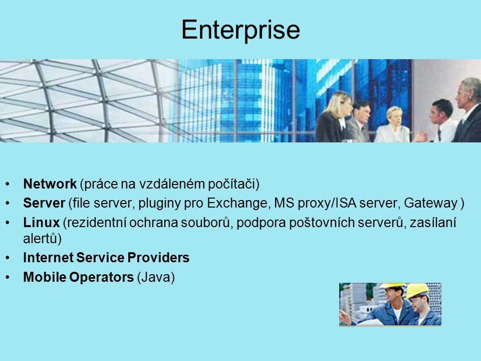 Enterprise Network (práce na vzdáleném počítači) Server (file server, pluginy pro Exchange, MS proxy/ISA server, Gateway ) Linux (rezidentní ochrana s