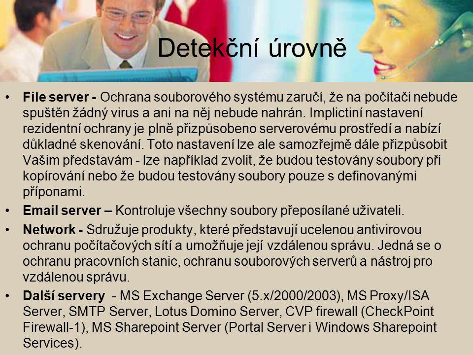 Detekční úrovně File server - Ochrana souborového systému zaručí, že na počítači nebude spuštěn žádný virus a ani na něj nebude nahrán. Implictiní nas