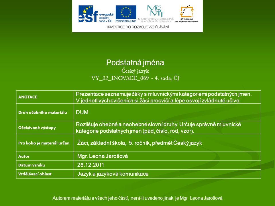 Autorem materiálu a všech jeho částí, není-li uvedeno jinak, je Mgr. Leona Jarošová ANOTACE Prezentace seznamuje žáky s mluvnickými kategoriemi podsta