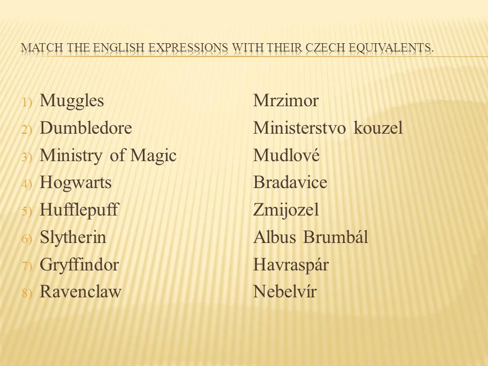 1) Muggles 2) Dumbledore 3) Ministry of Magic 4) Hogwarts 5) Hufflepuff 6) Slytherin 7) Gryffindor 8) Ravenclaw Mrzimor Ministerstvo kouzel Mudlové Br