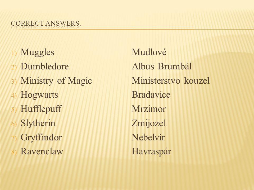 1) Muggles 2) Dumbledore 3) Ministry of Magic 4) Hogwarts 5) Hufflepuff 6) Slytherin 7) Gryffindor 8) Ravenclaw Mudlové Albus Brumbál Ministerstvo kou