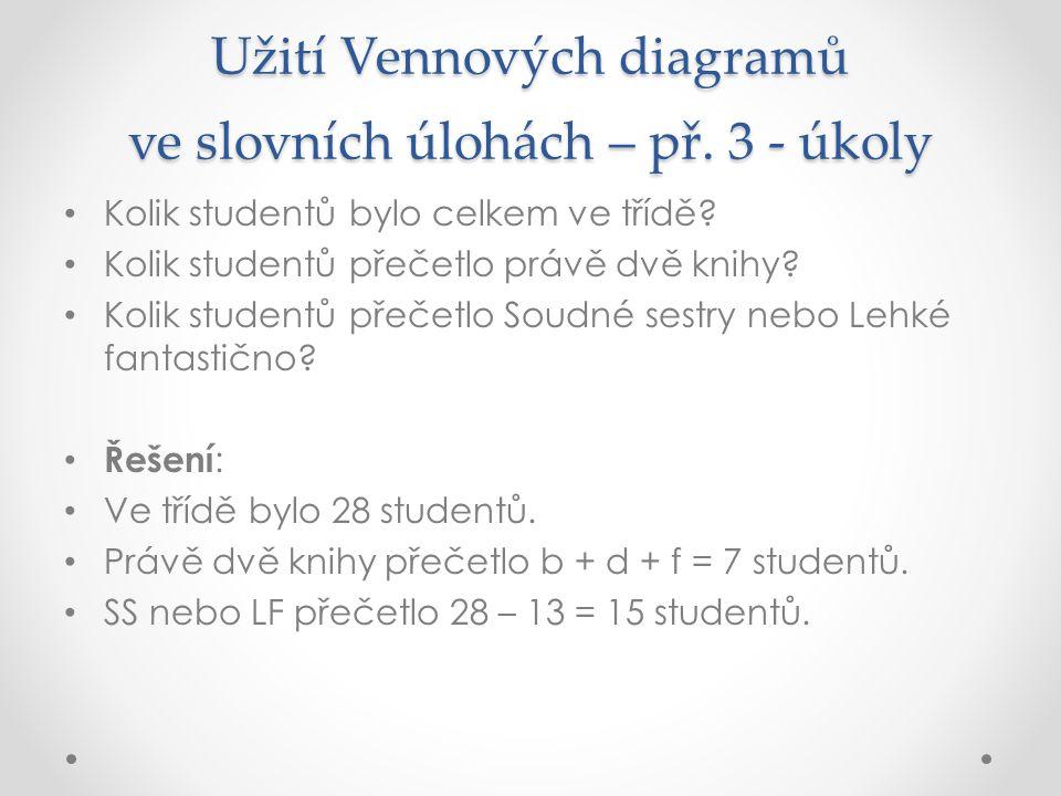 Užití Vennových diagramů ve slovních úlohách – př. 3 - úkoly Kolik studentů bylo celkem ve třídě? Kolik studentů přečetlo právě dvě knihy? Kolik stude