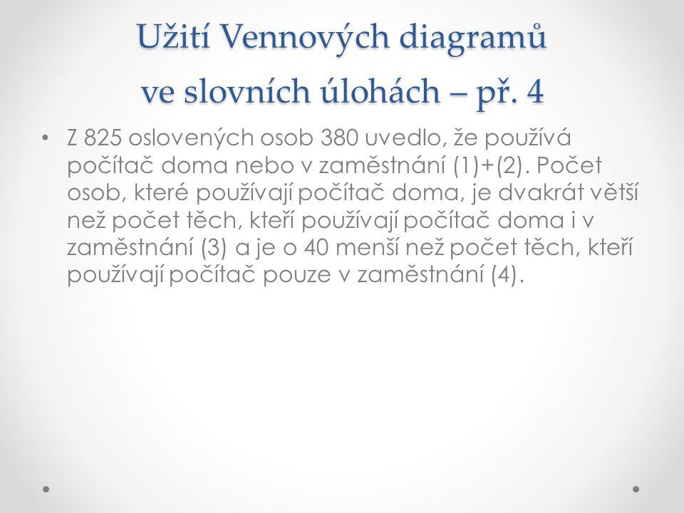Užití Vennových diagramů ve slovních úlohách – př. 4 Z 825 oslovených osob 380 uvedlo, že používá počítač doma nebo v zaměstnání (1)+(2). Počet osob,