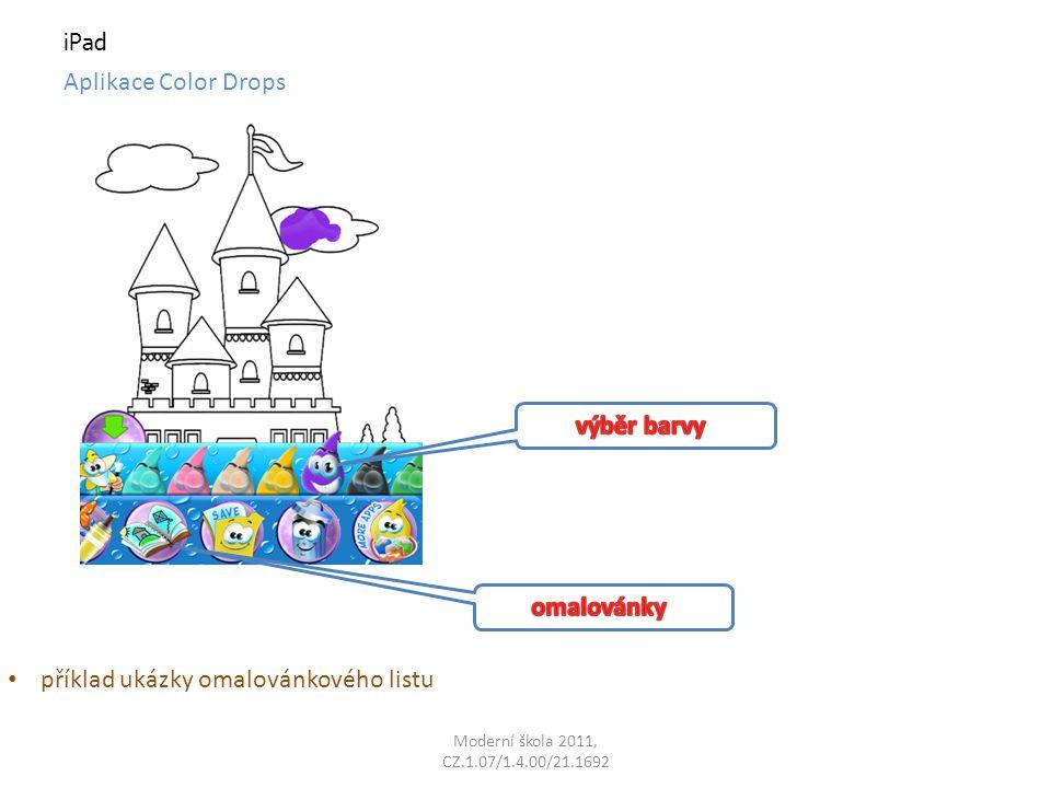 Moderní škola 2011, CZ.1.07/1.4.00/21.1692 iPad Aplikace Color Drops příklad ukázky omalovánkového listu