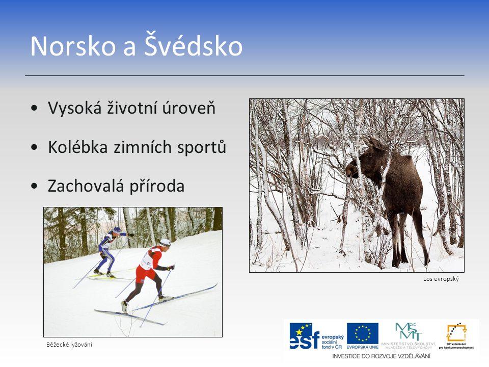 Norsko a Švédsko Vysoká životní úroveň Kolébka zimních sportů Zachovalá příroda Los evropský Běžecké lyžování