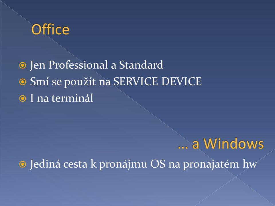  Jen Professional a Standard  Smí se použít na SERVICE DEVICE  I na terminál  Jediná cesta k pronájmu OS na pronajatém hw