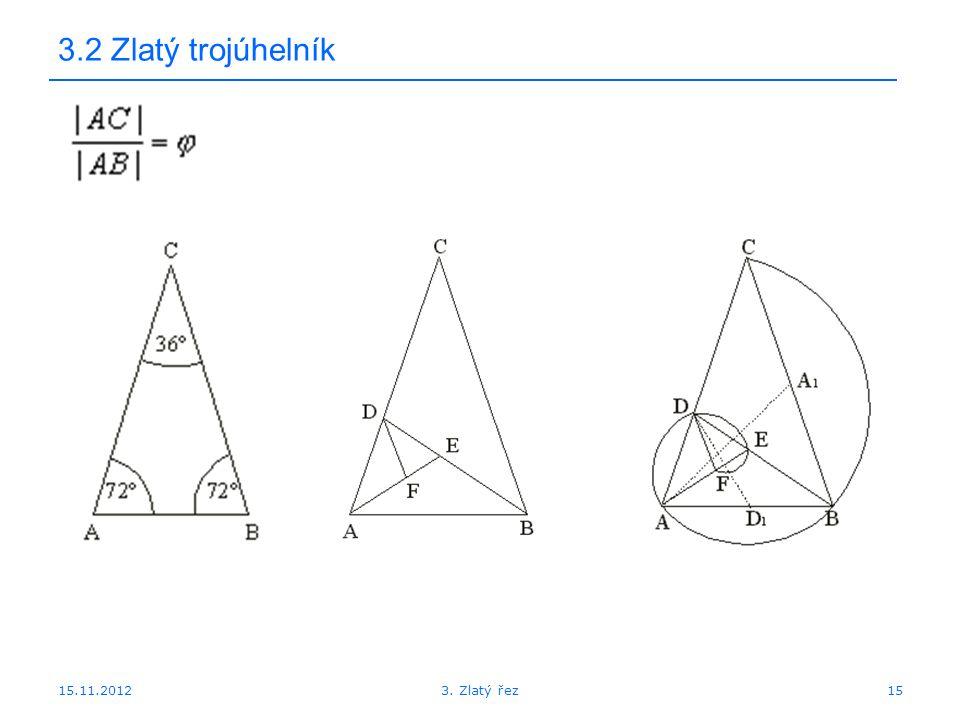 15.11.2012 3.2 Zlatý trojúhelník 153. Zlatý řez