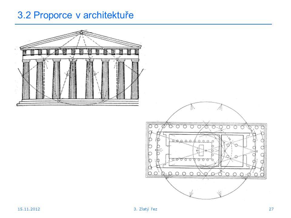 15.11.2012 3.2 Proporce v architektuře 273. Zlatý řez