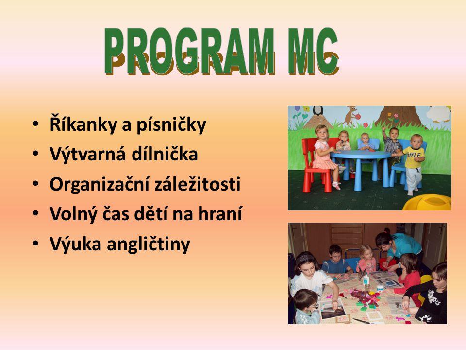 Říkanky a písničky Výtvarná dílnička Organizační záležitosti Volný čas dětí na hraní Výuka angličtiny