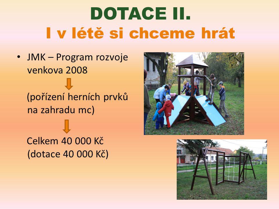 Obec Kučerov 2009 (pořízení trampolíny a masek) Celkem 10 000 Kč (dotace 10 000 Kč) DOTACE III.
