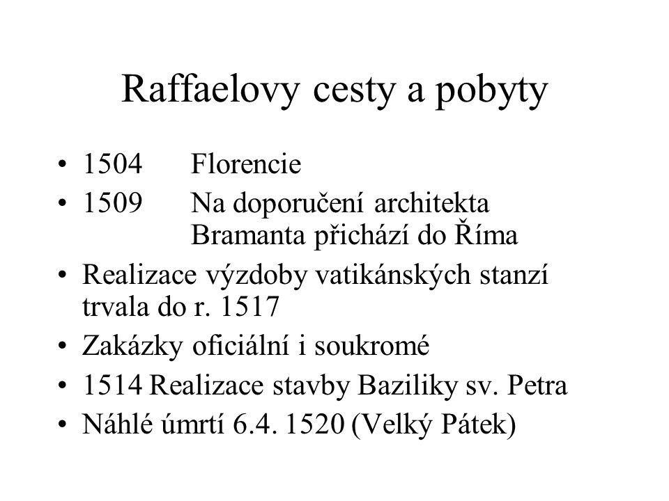 Raffaelovy cesty a pobyty 1504Florencie 1509Na doporučení architekta Bramanta přichází do Říma Realizace výzdoby vatikánských stanzí trvala do r. 1517