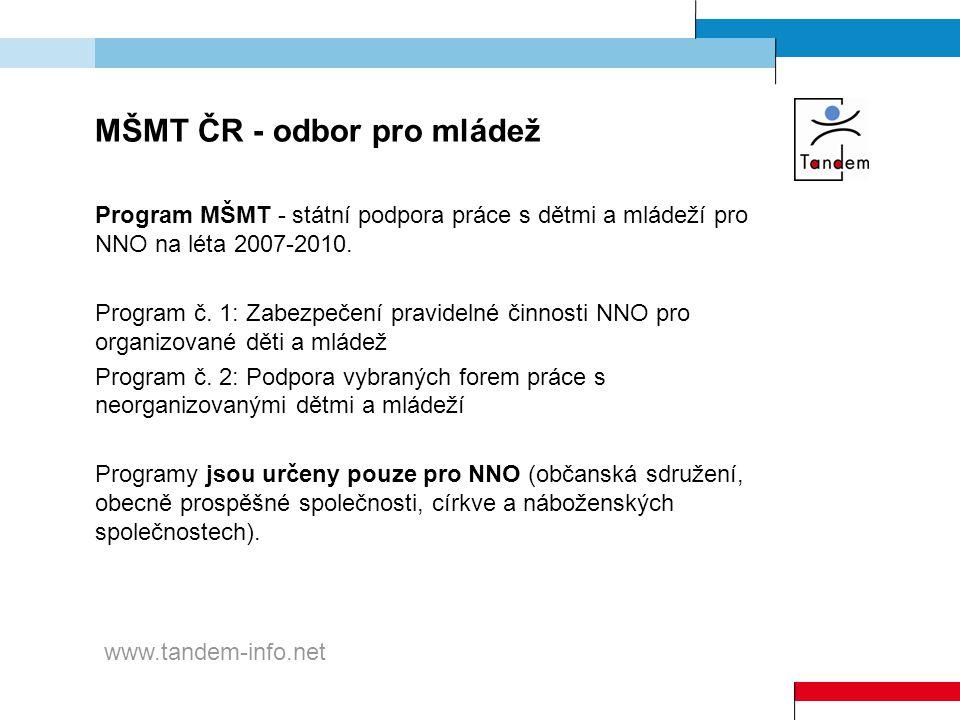 MŠMT ČR - odbor pro mládež Program MŠMT - státní podpora práce s dětmi a mládeží pro NNO na léta 2007-2010. Program č. 1: Zabezpečení pravidelné činno