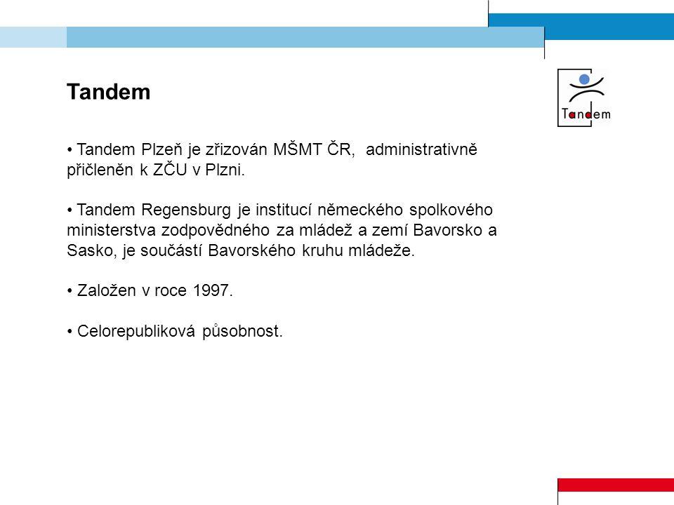 Tandem Tandem Plzeň je zřizován MŠMT ČR, administrativně přičleněn k ZČU v Plzni. Tandem Regensburg je institucí německého spolkového ministerstva zod