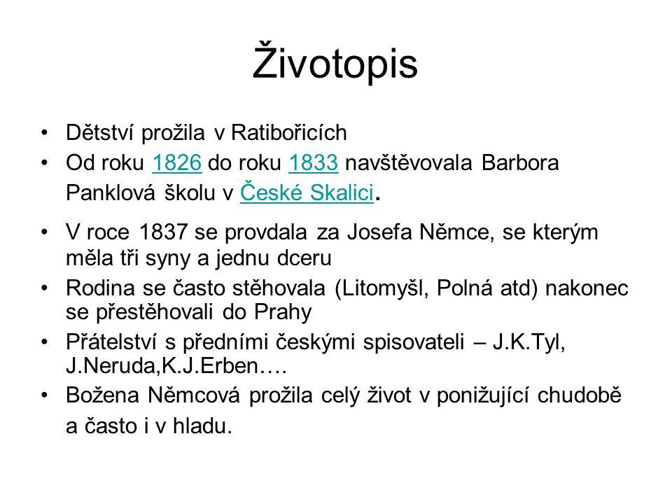 Životopis Dětství prožila v Ratibořicích Od roku 1826 do roku 1833 navštěvovala Barbora Panklová školu v České Skalici.18261833České Skalici V roce 18