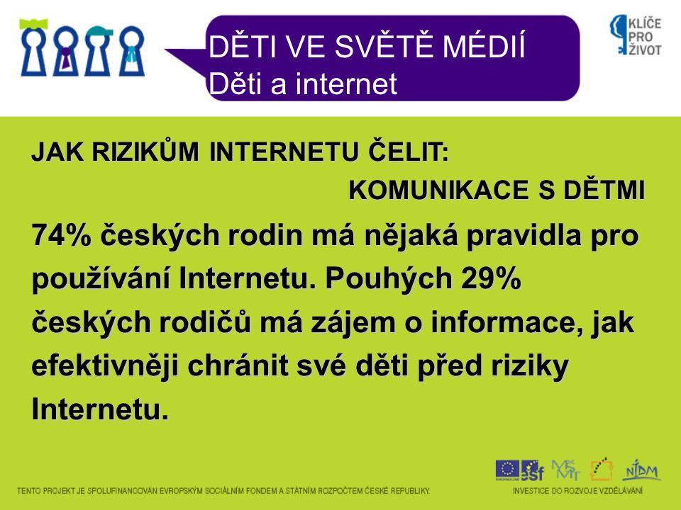 DĚTI VE SVĚTĚ MÉDIÍ Děti a internet JAK RIZIKŮM INTERNETU ČELIT: KOMUNIKACE S DĚTMI 74% českých rodin má nějaká pravidla pro používání Internetu.