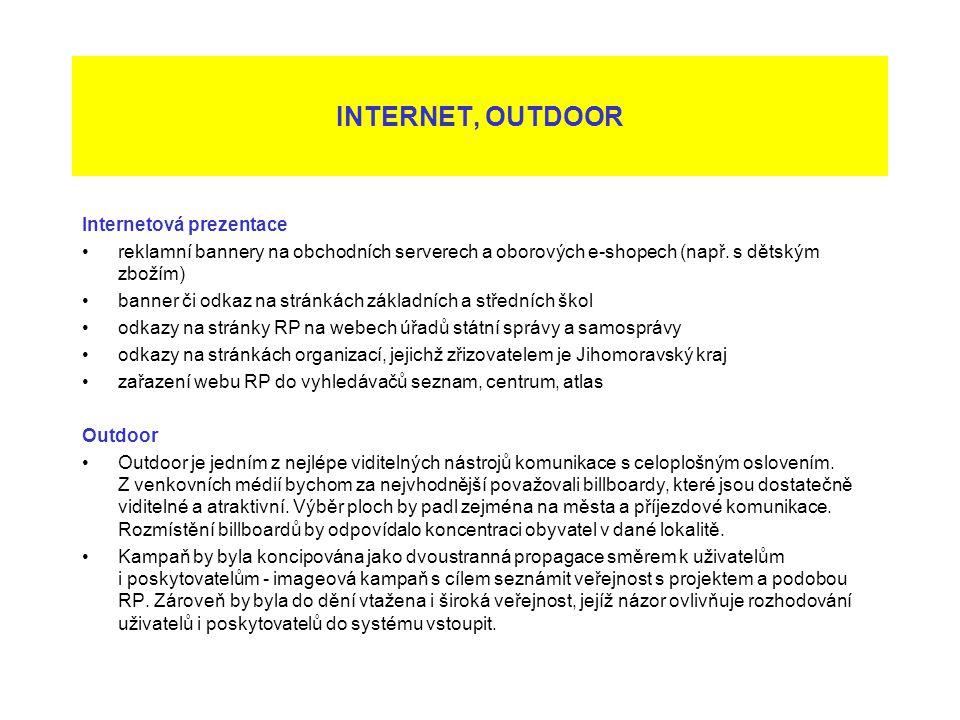 Internetová prezentace reklamní bannery na obchodních serverech a oborových e-shopech (např. s dětským zbožím) banner či odkaz na stránkách základních