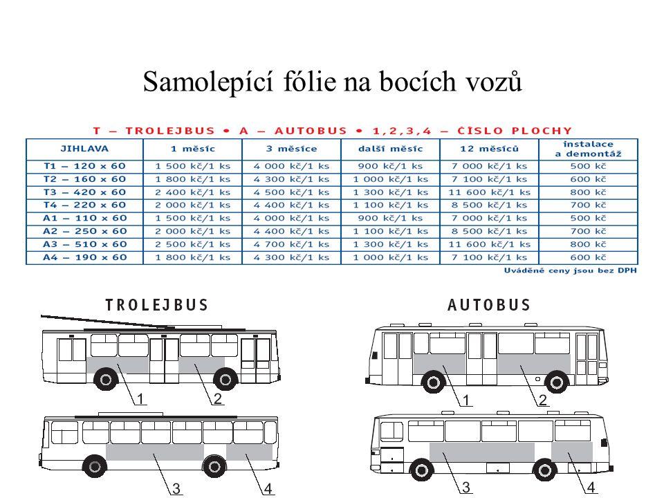 Samolepící fólie na bocích vozů