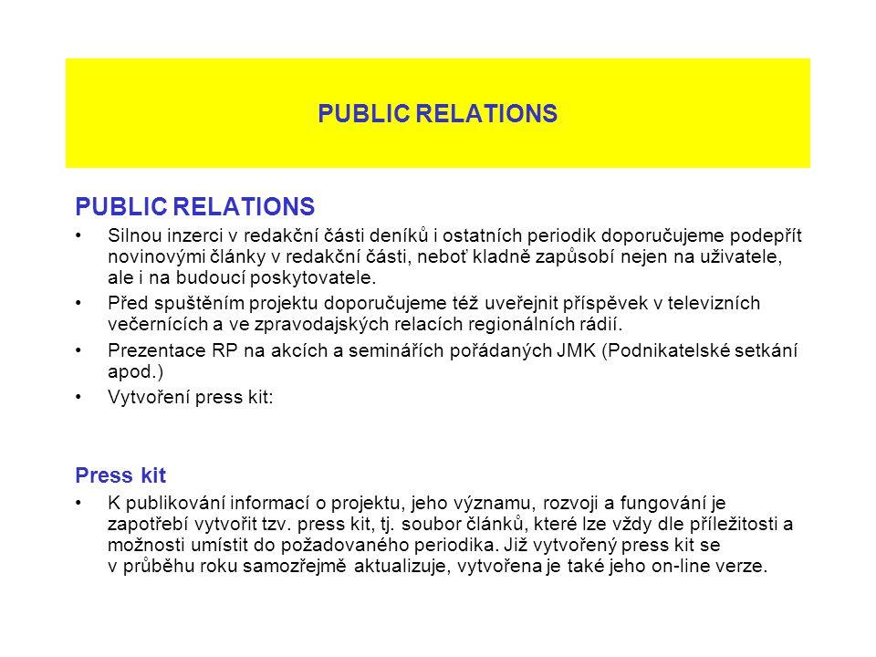 PUBLIC RELATIONS Silnou inzerci v redakční části deníků i ostatních periodik doporučujeme podepřít novinovými články v redakční části, neboť kladně za