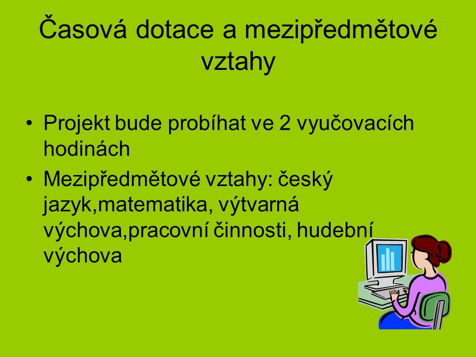 Časová dotace a mezipředmětové vztahy Projekt bude probíhat ve 2 vyučovacích hodinách Mezipředmětové vztahy: český jazyk,matematika, výtvarná výchova,