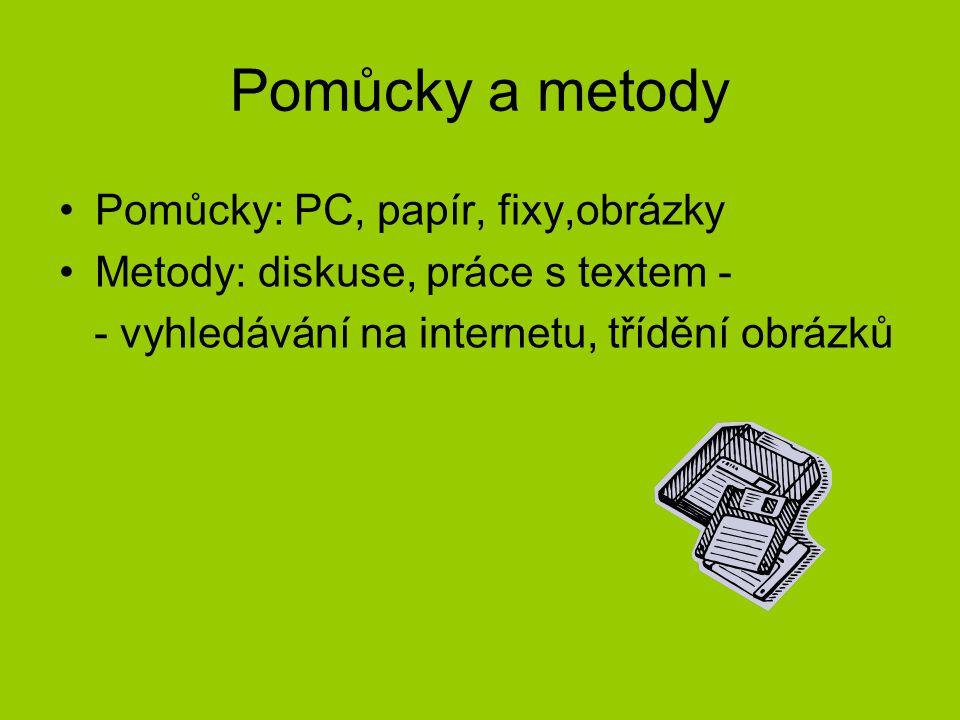 Pomůcky a metody Pomůcky: PC, papír, fixy,obrázky Metody: diskuse, práce s textem - - vyhledávání na internetu, třídění obrázků