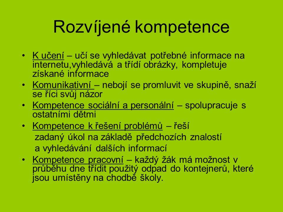 Rozvíjené kompetence K učení – učí se vyhledávat potřebné informace na internetu,vyhledává a třídí obrázky, kompletuje získané informace Komunikativní