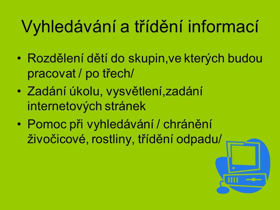 Vyhledávání a třídění informací Rozdělení dětí do skupin,ve kterých budou pracovat / po třech/ Zadání úkolu, vysvětlení,zadání internetových stránek P