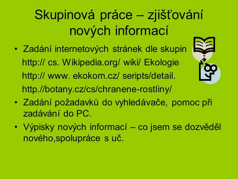 Skupinová práce – zjišťování nových informací Zadání internetových stránek dle skupin http:// cs. Wikipedia.org/ wiki/ Ekologie http:// www. ekokom.cz
