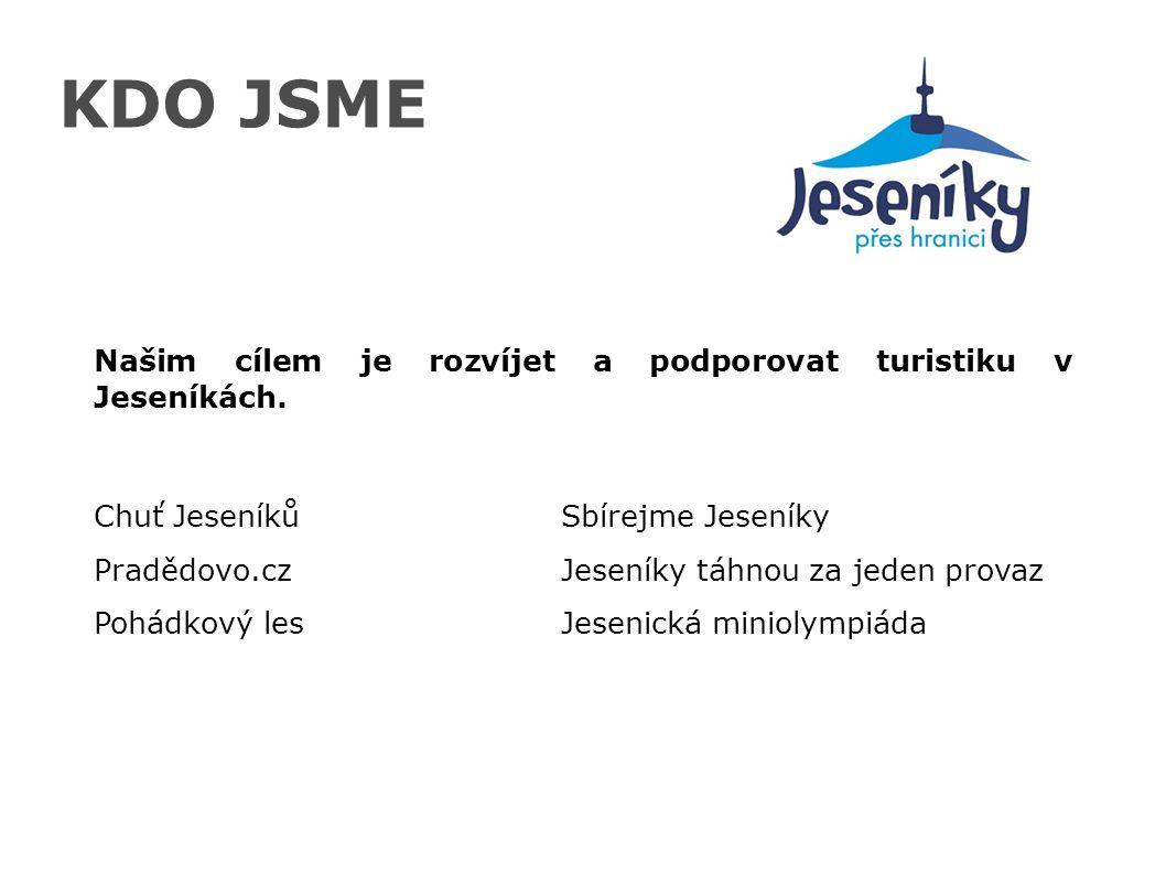 KDO JSME Našim cílem je rozvíjet a podporovat turistiku v Jeseníkách. Chuť JeseníkůSbírejme Jeseníky Pradědovo.czJeseníky táhnou za jeden provaz Pohád