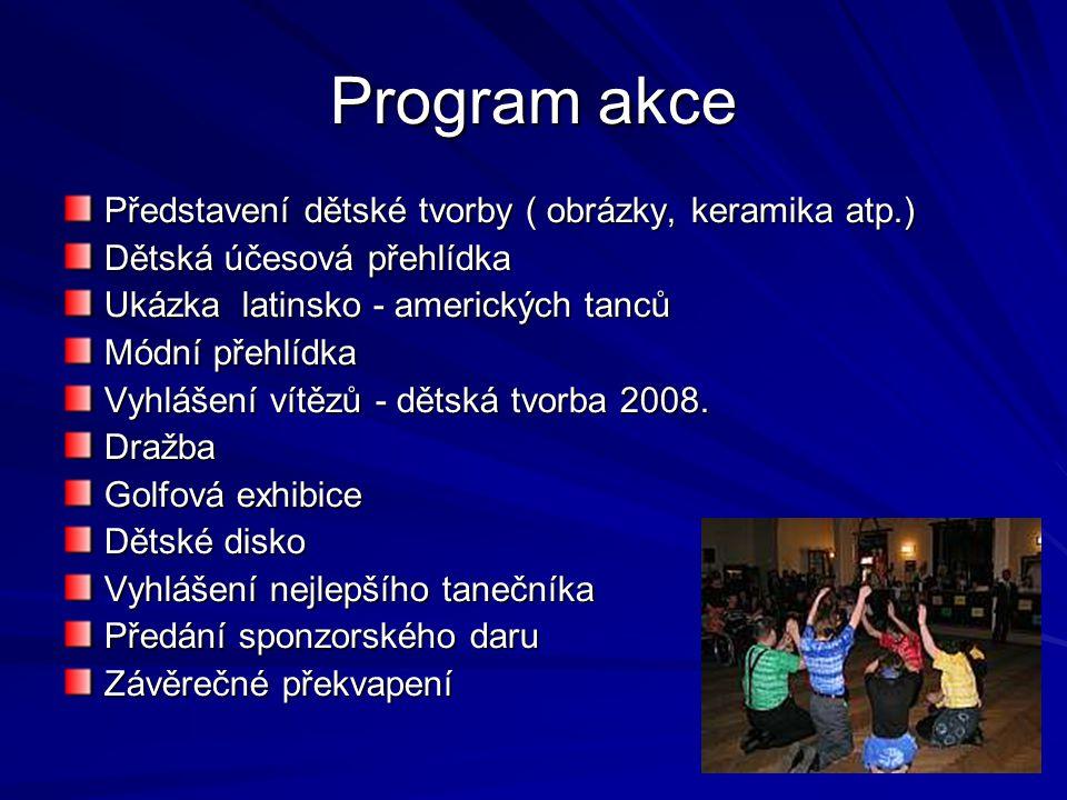 Program akce Představení dětské tvorby ( obrázky, keramika atp.) Dětská účesová přehlídka Ukázka latinsko - amerických tanců Módní přehlídka Vyhlášení vítězů - dětská tvorba 2008.