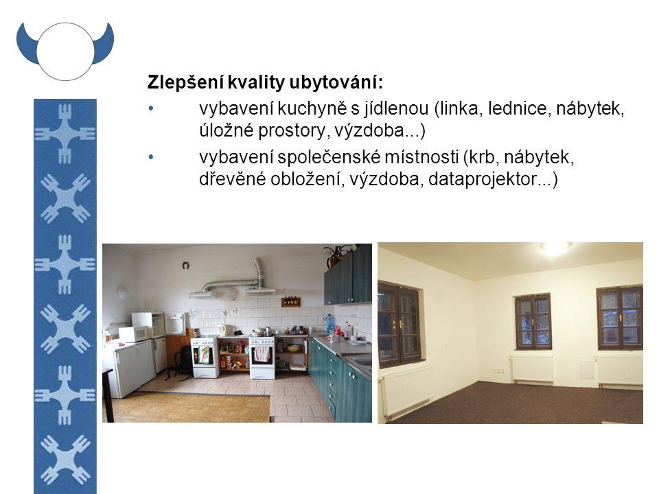 Zlepšení kvality ubytování: rekonstrukce noclehárny v podkroví (podlaha, obložení, palandy, schodiště, úložný prostor...) vybavení pokojů (nábytek ve starých pokojích, závěsy, lampičky, poličky...) rekonstrukce chodby (schodiště, obložení, osvětlení, výzdoba...