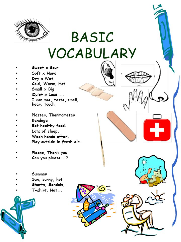 BASIC VOCABULARY Sweet x Sour Soft x Hard Dry x Wet Cold, Warm, Hot Small x Big Quiet x Loud... I can see, taste, smell, hear, touch Plaster, Thermome