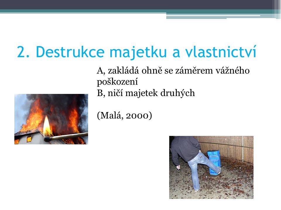 2. Destrukce majetku a vlastnictví A, zakládá ohně se záměrem vážného poškození B, ničí majetek druhých (Malá, 2000)