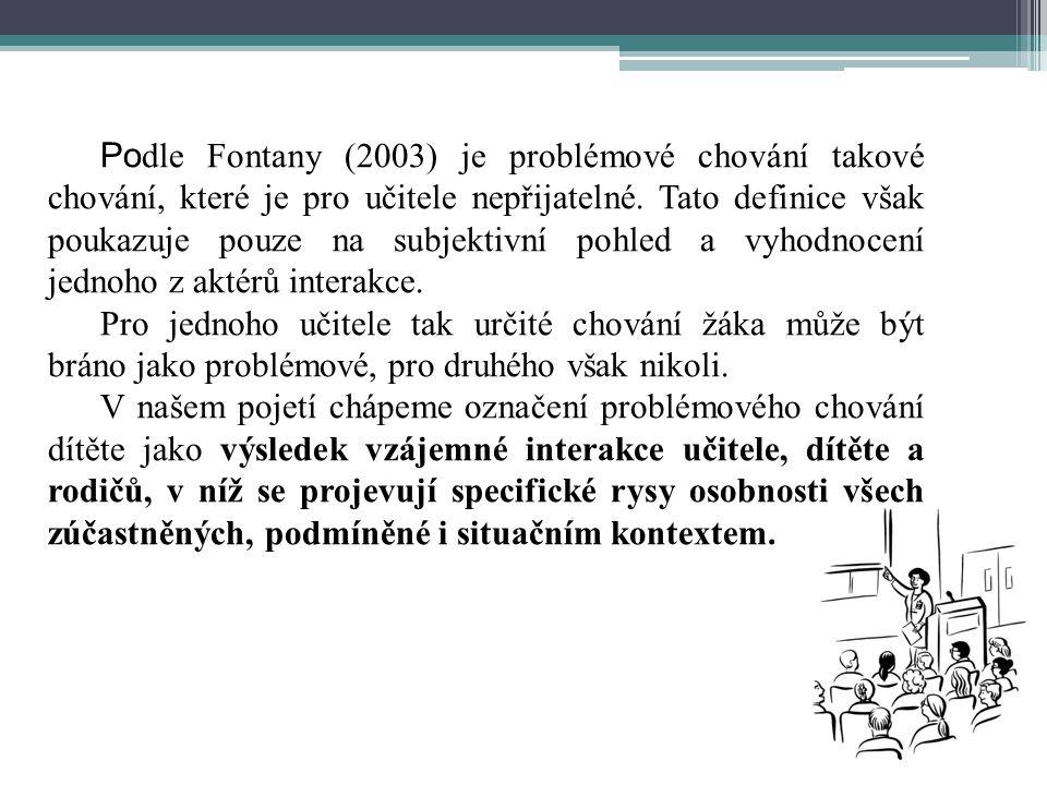 Po dle Fontany (2003) je problémové chování takové chování, které je pro učitele nepřijatelné.