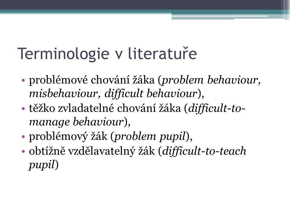 Terminologie v literatuře problémové chování žáka (problem behaviour, misbehaviour, difficult behaviour), těžko zvladatelné chování žáka (difficult-to- manage behaviour), problémový žák (problem pupil), obtížně vzdělavatelný žák (difficult-to-teach pupil)