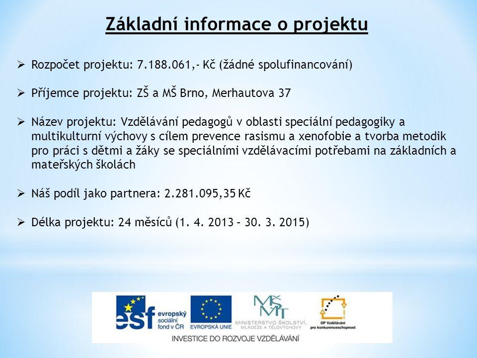 Základní informace o projektu  Rozpočet projektu: 7.188.061,- Kč (žádné spolufinancování)  Příjemce projektu: ZŠ a MŠ Brno, Merhautova 37  Název pr