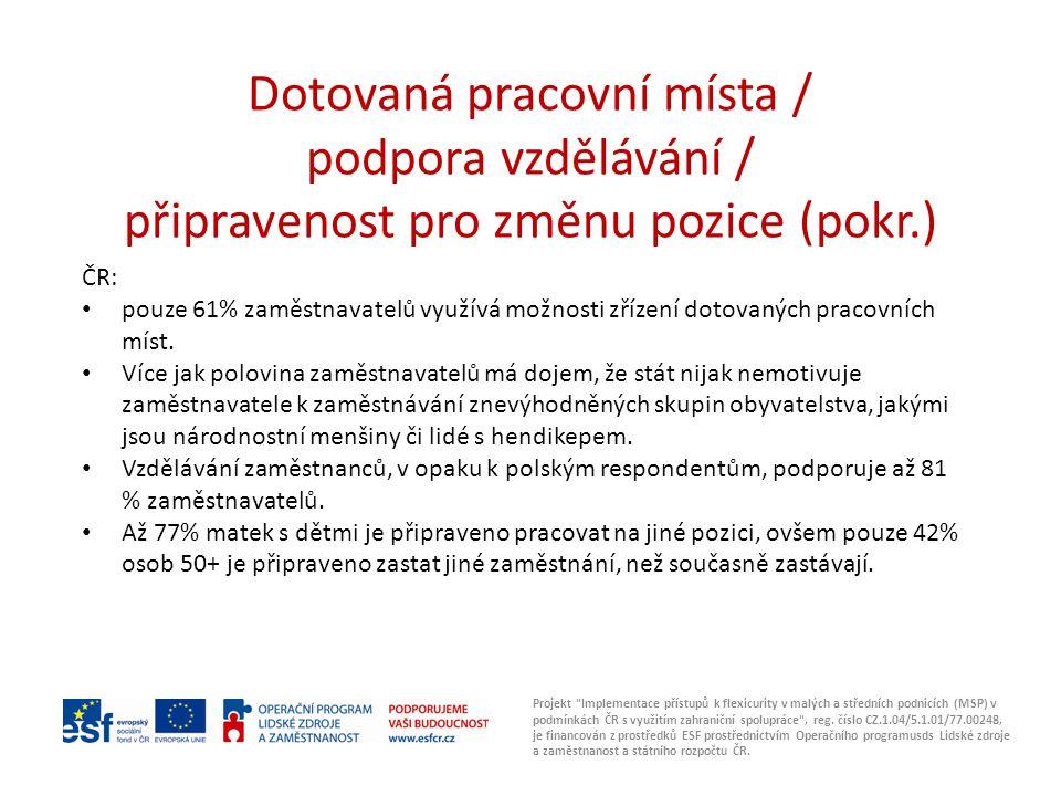 Pozitiva a negativa implementace flexicurity Projekt Implementace přístupů k flexicurity v malých a středních podnicích (MSP) v podmínkách ČR s využitím zahraniční spolupráce , reg.
