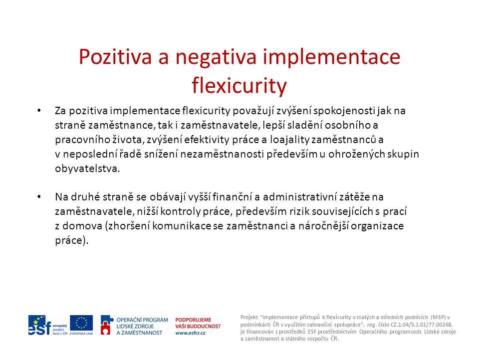Projekt Implementace přístupů k flexicurity v malých a středních podnicích (MSP) v podmínkách ČR s využitím zahraniční spolupráce , reg.
