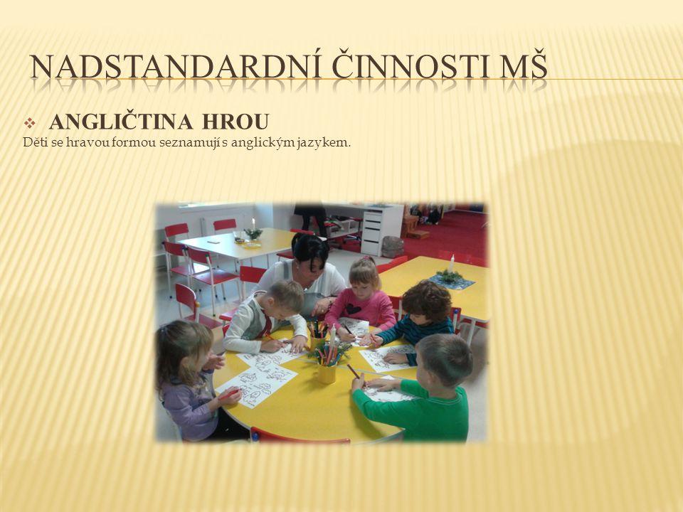  ANGLIČTINA HROU Děti se hravou formou seznamují s anglickým jazykem.