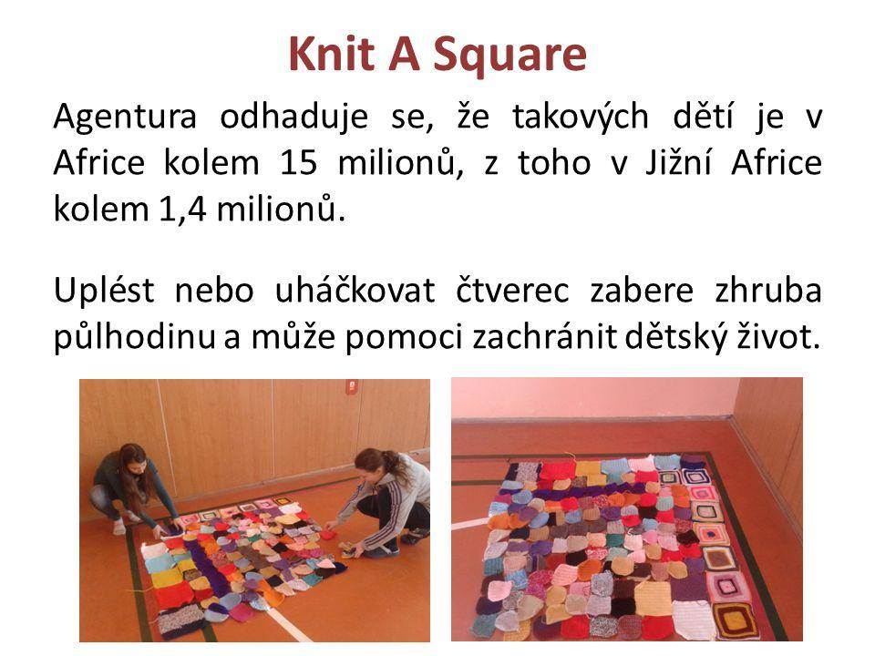 Knit A Square Agentura odhaduje se, že takových dětí je v Africe kolem 15 milionů, z toho v Jižní Africe kolem 1,4 milionů. Uplést nebo uháčkovat čtve