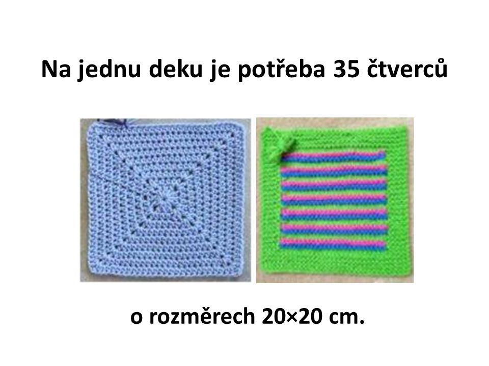 Na jednu deku je potřeba 35 čtverců o rozměrech 20×20 cm.