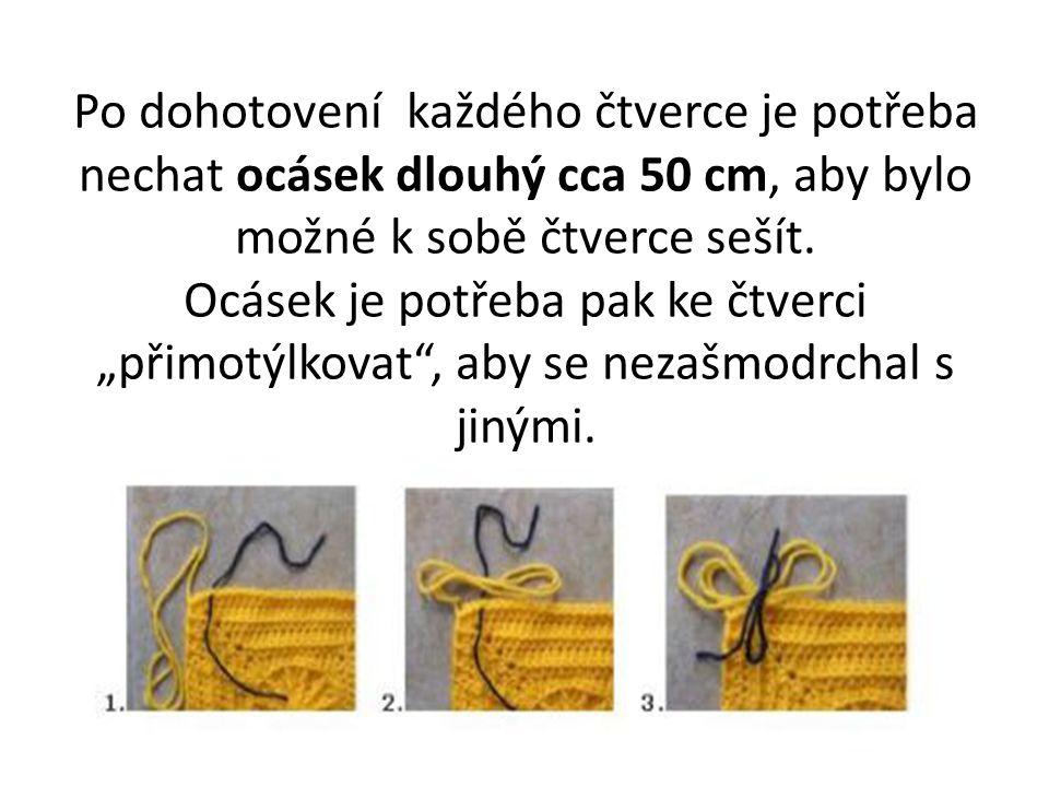 """Po dohotovení každého čtverce je potřeba nechat ocásek dlouhý cca 50 cm, aby bylo možné k sobě čtverce sešít. Ocásek je potřeba pak ke čtverci """"přimot"""