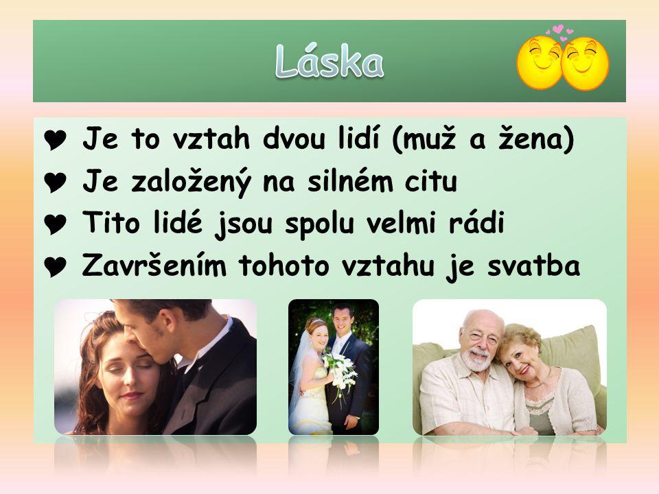  Je to vztah dvou lidí (muž a žena)  Je založený na silném citu  Tito lidé jsou spolu velmi rádi  Završením tohoto vztahu je svatba