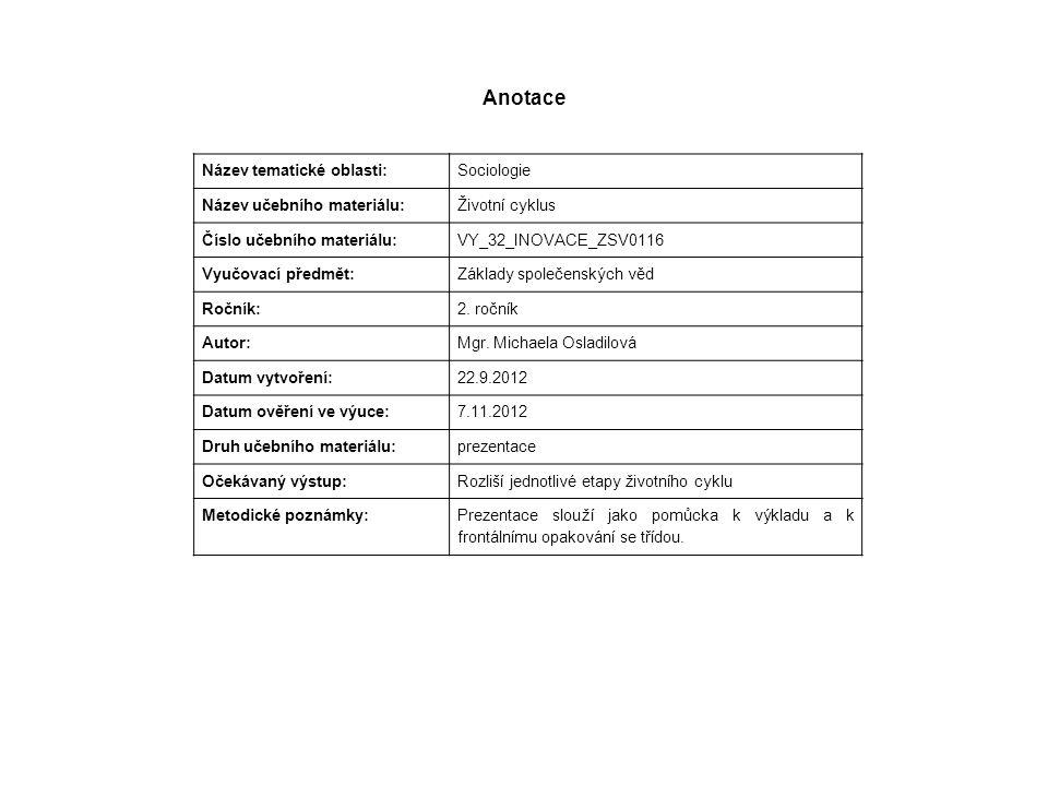 Anotace Název tematické oblasti: Sociologie Název učebního materiálu: Životní cyklus Číslo učebního materiálu: VY_32_INOVACE_ZSV0116 Vyučovací předmět: Základy společenských věd Ročník: 2.