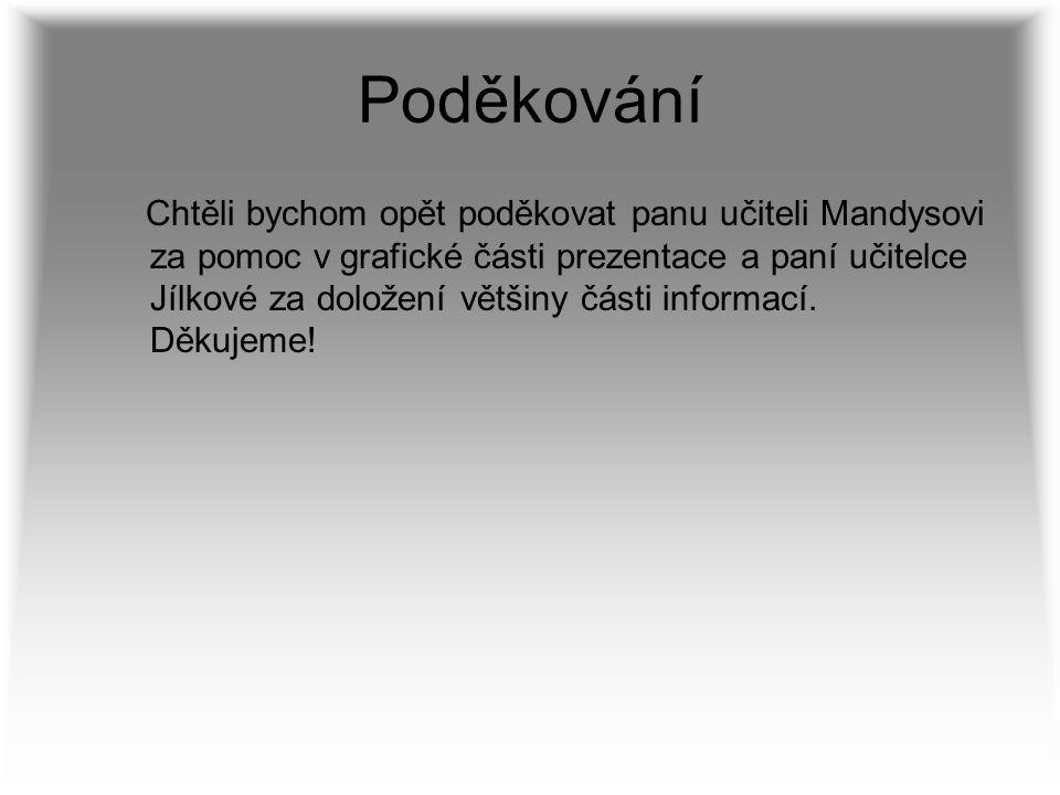 Poděkování Chtěli bychom opět poděkovat panu učiteli Mandysovi za pomoc v grafické části prezentace a paní učitelce Jílkové za doložení většiny části