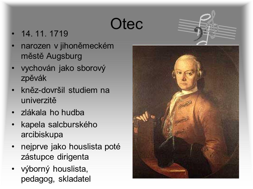 Otec 14. 11. 1719 narozen v jihoněmeckém městě Augsburg vychován jako sborový zpěvák kněz-dovršil studiem na univerzitě zlákala ho hudba kapela salcbu