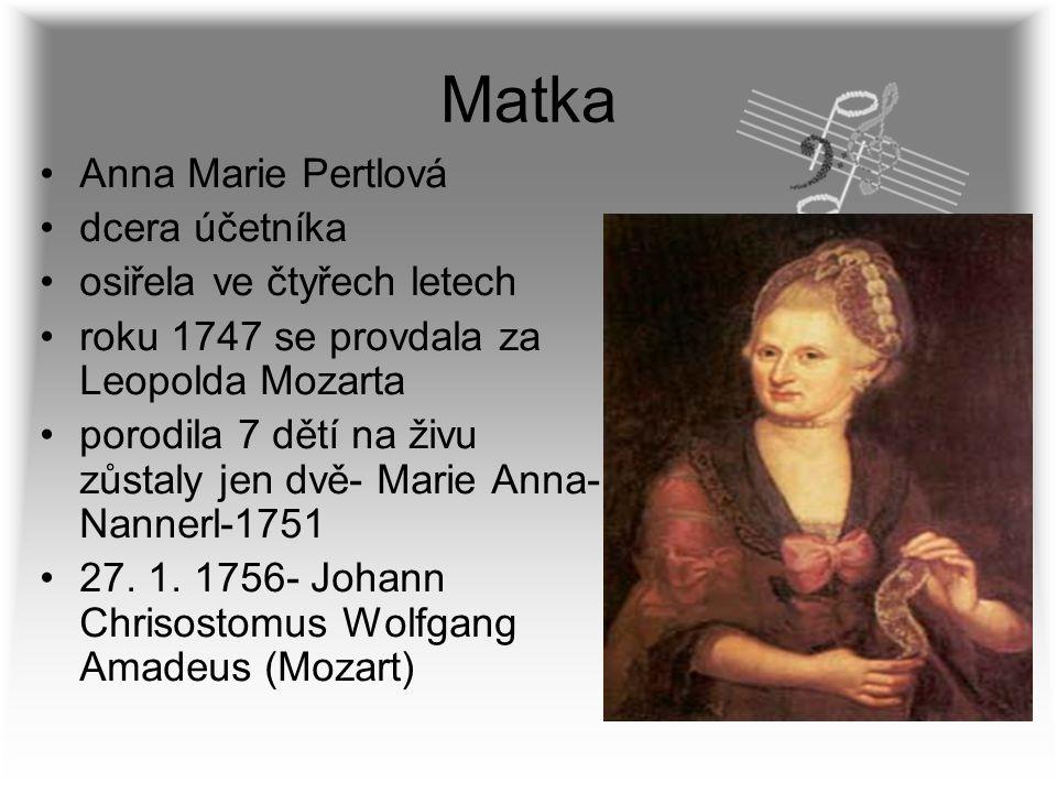 Matka Anna Marie Pertlová dcera účetníka osiřela ve čtyřech letech roku 1747 se provdala za Leopolda Mozarta porodila 7 dětí na živu zůstaly jen dvě-